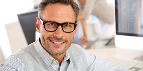 Portrait of smiling businessman with eyeglasses